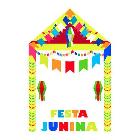 festa: Festa Junina Brazil Festival. Folklore holiday. Festival fire. Vector illustration.  Festa Junina - June party.