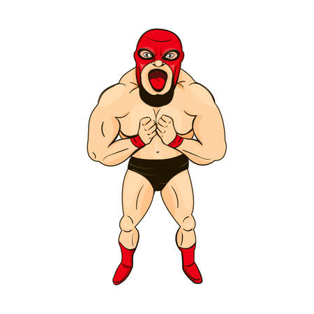 Mexican wrestler in the style of cartoons isolated on white background. Mexican character