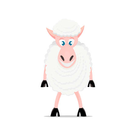 game meat: Cartoon sheep. Cute sheep isolated on white background. For games, cards, childrens books.