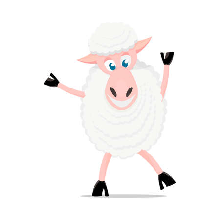 looking away: Cartoon sheep. Cute sheep isolated on white background. For games, cards, childrens books.