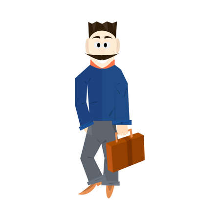 asher: Businessman with a mustache lucky cartoon style with a bag Illustration