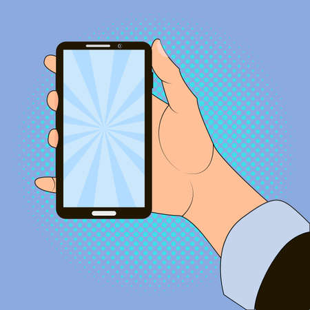 cellphone in hand: Hand holding smart phone on blue background. Pop art design