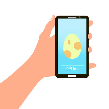 go to store: Smartphone in hand with image egg for game in flat style