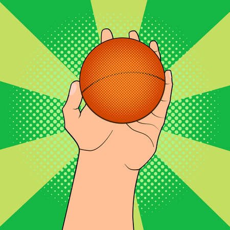 go to store: Game ball in hand in pop art style