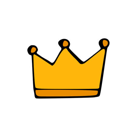Gold crown icon isolated on white background in style hand draw Illustration