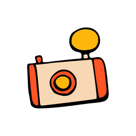 Retro camera icon or vintage camera in style hand draw Illustration