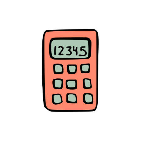 calculator icon: Calculator icon isolated on white background in style hand draw