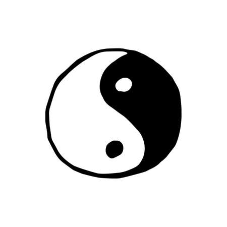 daoism: Ying yang symbol icon isolated on white background in style hand draw