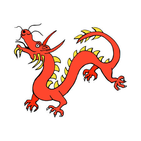 flying monkey: Red Dragon china zodiac symbols icon isolated on white background in style hand draw Illustration