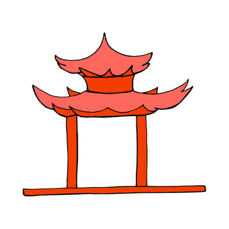 chinatown: Chinese Gate icon isolated on white background in style hand draw