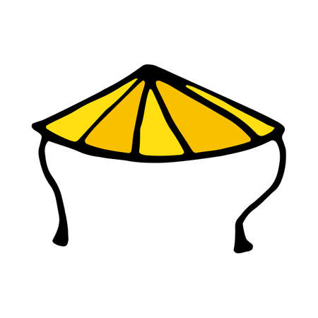 Chinese conical straw hat icon isolated on white background in style hand draw Illustration