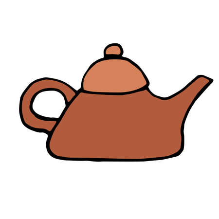 China Teapot icon isolated on white background in style hand draw
