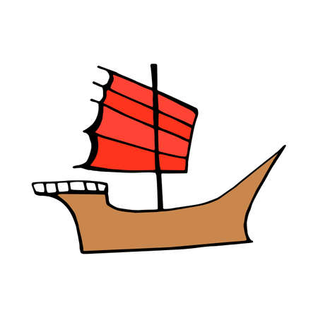 hong kong harbour: Chinese junk ship icon isolated on white background in style hand draw Illustration