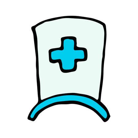 enfermera con cofia: icono de casquillo de la enfermera aislado en el fondo blanco en el sorteo de la mano del estilo