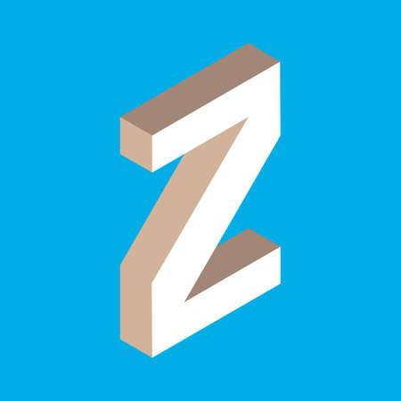 headlines: 3d isometric letter z. typography for headlines, posters etc. Illustration
