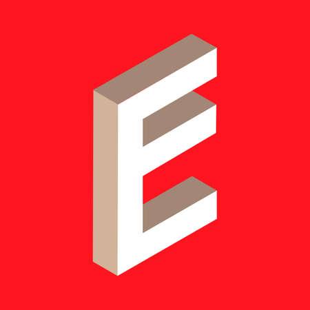 headlines: 3d isometric letter e. typography for headlines, posters etc. Illustration