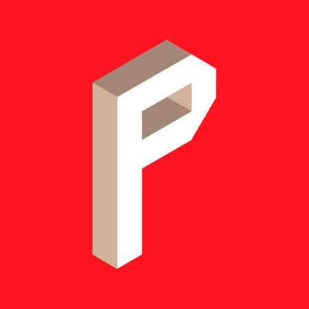 headlines: 3d isometric letter p. typography for headlines, posters etc.