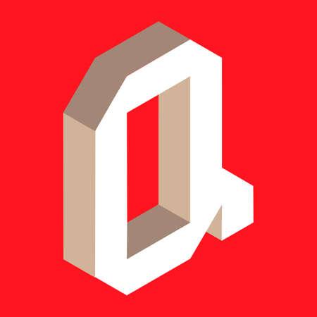 headlines: 3d isometric letter q. typography for headlines, posters etc.