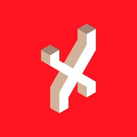 headlines: 3d isometric letter x. typography for headlines, posters etc.