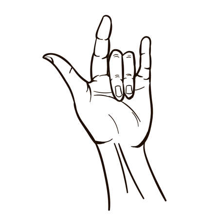 Sign Hand Hippie draw in Cartoon style isolated on white background Illustration