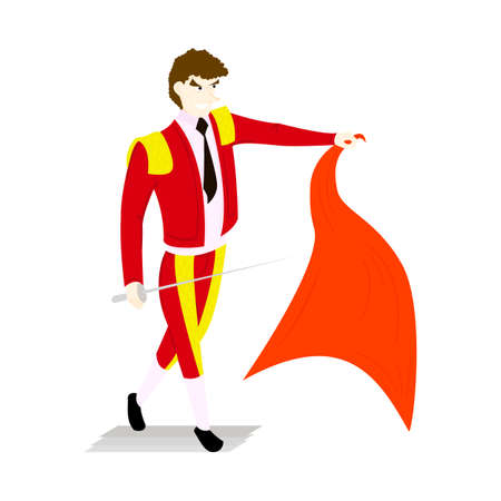 Toreador in a red suit and sword with a capein style flat isolated on white background Illustration