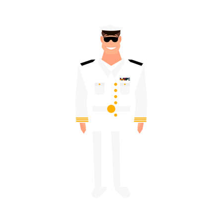 Army general with hand gesture saluting. Military man. Happy veterans day design element. Cartoon style.