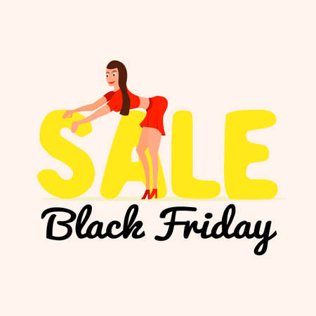 Cute and happy girl on sale Black Friday in a cartoon style. Fashionable girl waiting for discounts