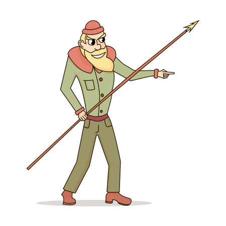 Cute and funny fisherman or hunter with a spear in style cartoon on a white background Illustration