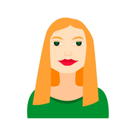 blonde woman flat icon with green dress businesswoman long hair avatar