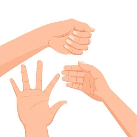 dedo meÑique: Conjunto de varias manos. Estilo de dibujos animados aislado sobre fondo blanco