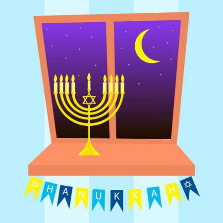gelt: Happy Hanukkah greeting card design. Candlestick stands on the windowsill Illustration