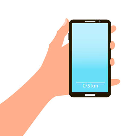 hand holding smart phone: Hand holding smart phone on blue background. cartoon design Illustration