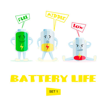 High, medium and low battery. Cartoon battery charge. Comic characters