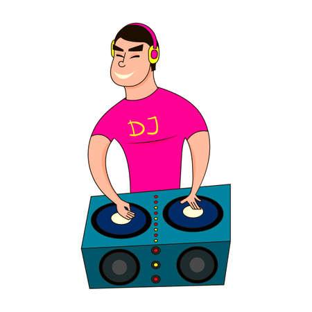 dj boy: Male Disc Jockey Mixing Songs Using His Turntable. DJ boy