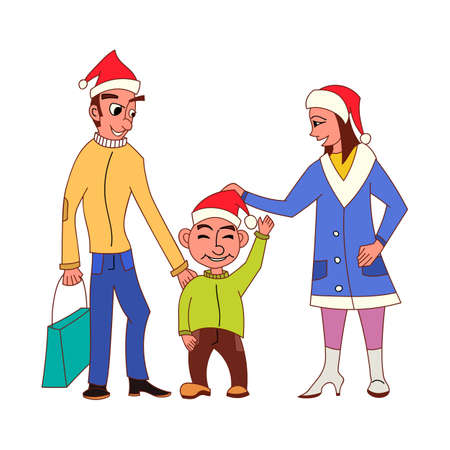 Happy family going Christmas shopping together with Santa Claus hats and holding bags Illustration