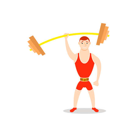Cartoon man barbell exercises: squat, deadlift, overhead press. Weight lifting illustration. Cute athlete