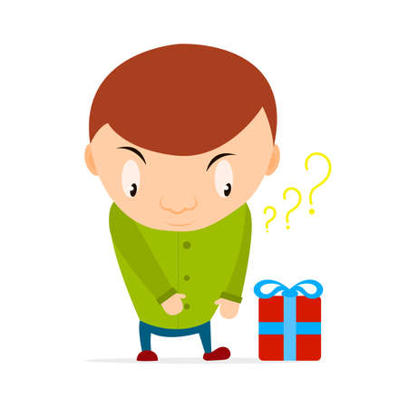 Small boy wants to take a gift box with a bow and thinking what gift inside. Cartoon kid character