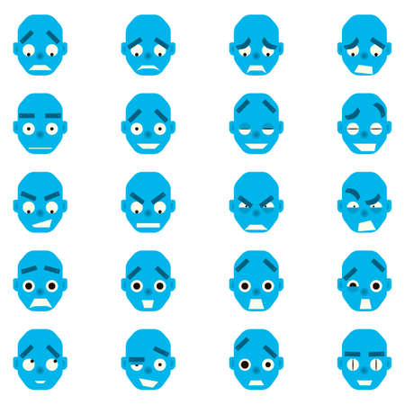 flirt: Emotional androyd head in cartoon style. Set robot character, joy, gursut, flirt, funk, udivldenie anger Illustration