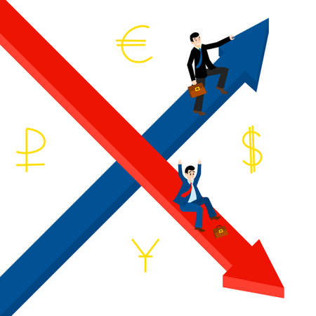 financial market: Growth, decline. Businessmen hold for growing top arrow signs. Business Men roll down arrow. Concept business and financial exchange market. Dollar, euro, ruble, yuan