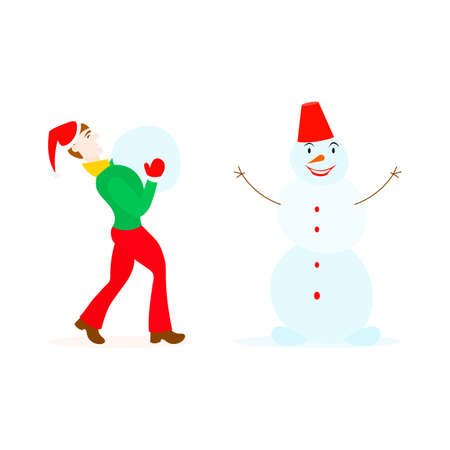 teeny: Teenager in santa hat and mittens playing with a snowman in a cartoon style isolated on white
