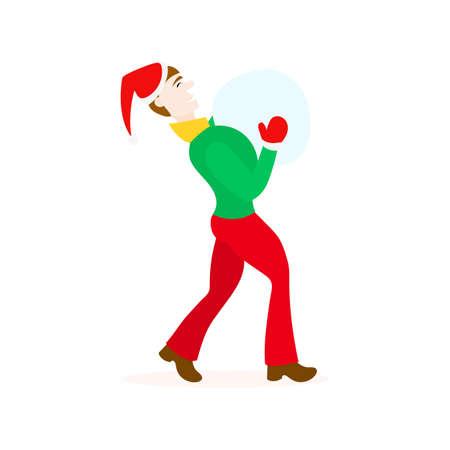lad: Winter characters. boy in Christmas santa hat Illustration
