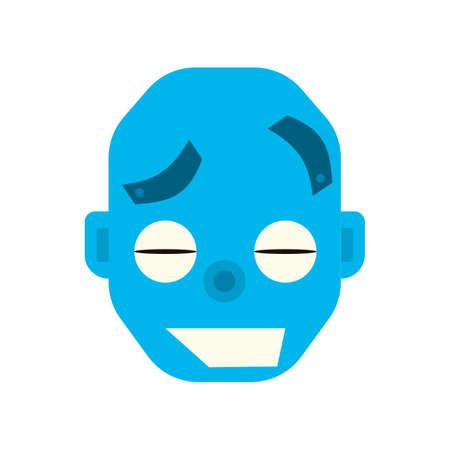 robot head: Emotional happy robot head in cartoon style. robot joy