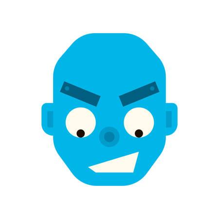 foul: Emotional happy robot head in cartoon style. robot joy