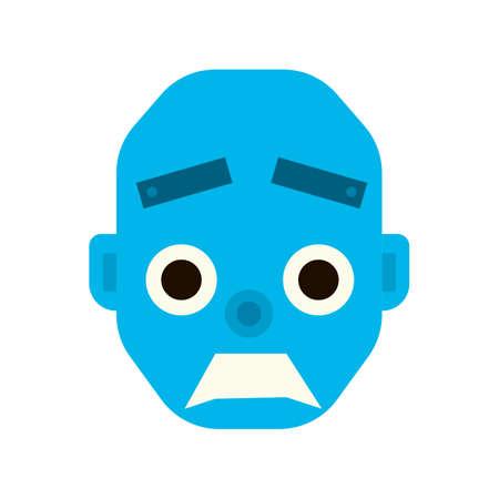 robot head: Emotional wicked robot head in cartoon style. robot evil