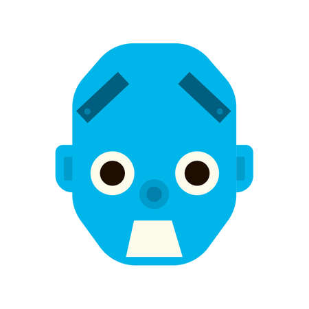 foul: Emotional scared robot head in cartoon style. robot awesome Illustration