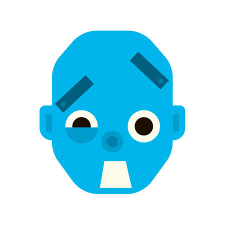 Emotional scared robot head in cartoon style. robot awesome Illustration