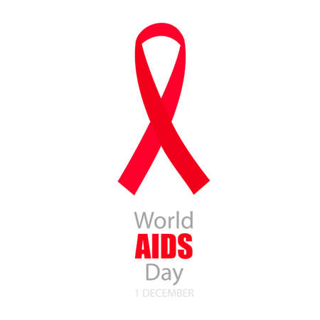 aids virus: World Aids Day background with red ribbon of aids awareness