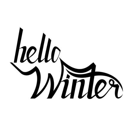 Hello winter brush lettering calligraphy on white isolated. er text for cards, invitations, templates with hand drawn lettering Illustration
