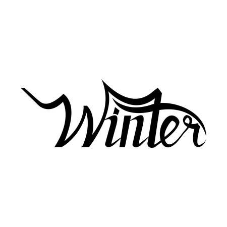 hand lettering: Winter hand lettering isolated on black background. Handmade calligraphy for print, poster, greeting card, invitation. Custom typography design and hand lettering