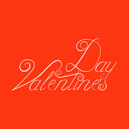 Valentine day hand lettering, handmade ink calligraphy scalable and editable vector illustration Illustration